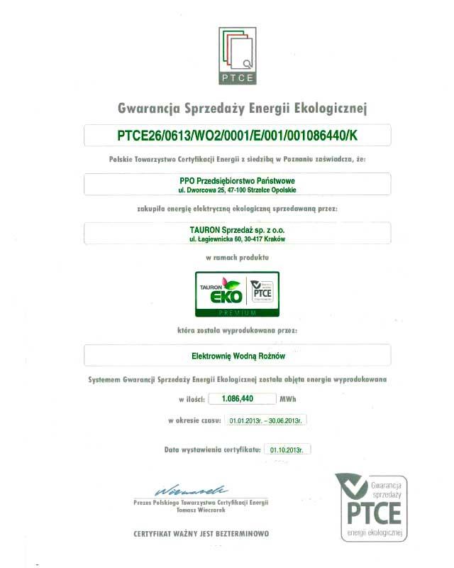 Certyfikat zakupu energii ekologicznej