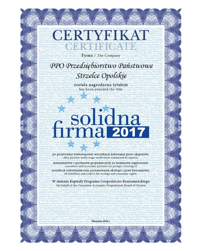 Certyfikat Solidna Firma